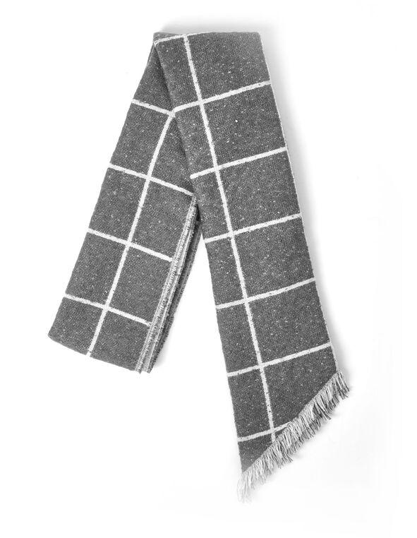 Grey Asymmetrical Scarf, Grey, hi-res