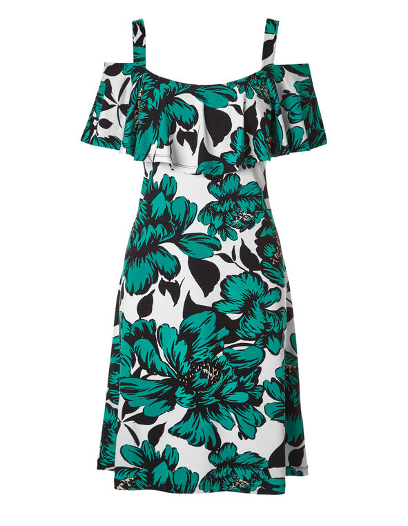 Turquoise Floral Summer Dress, Turquoise, hi-res