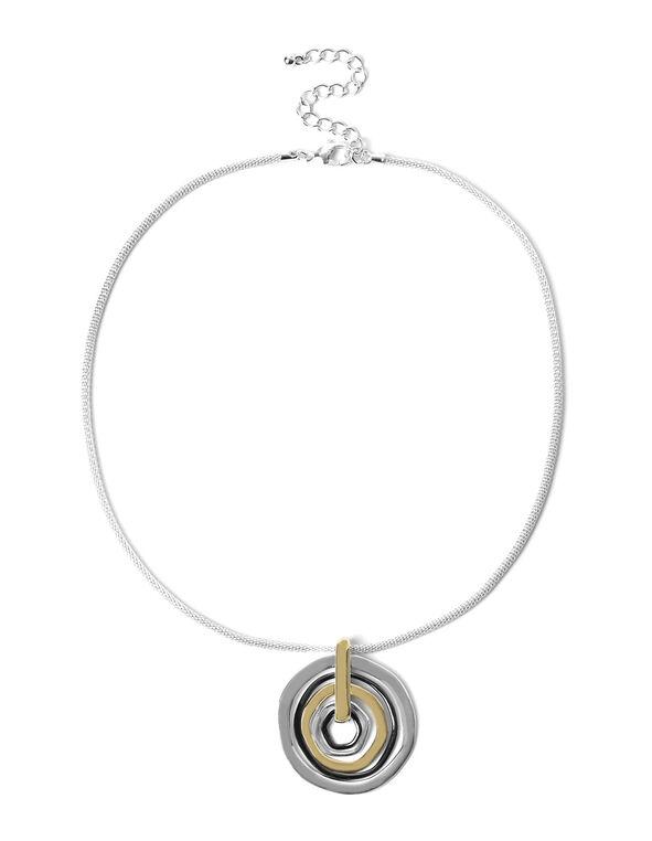 Short Circular Pendant Necklace, Silver/Gold, hi-res