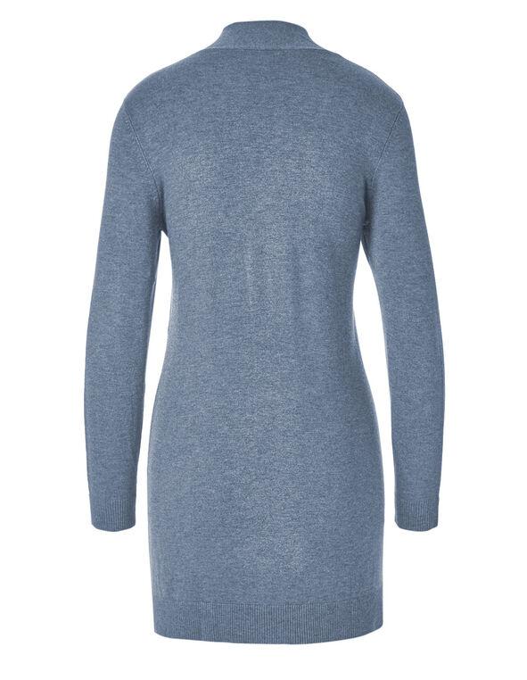 Blue Mix Draped Open Cardigan , Blue, hi-res