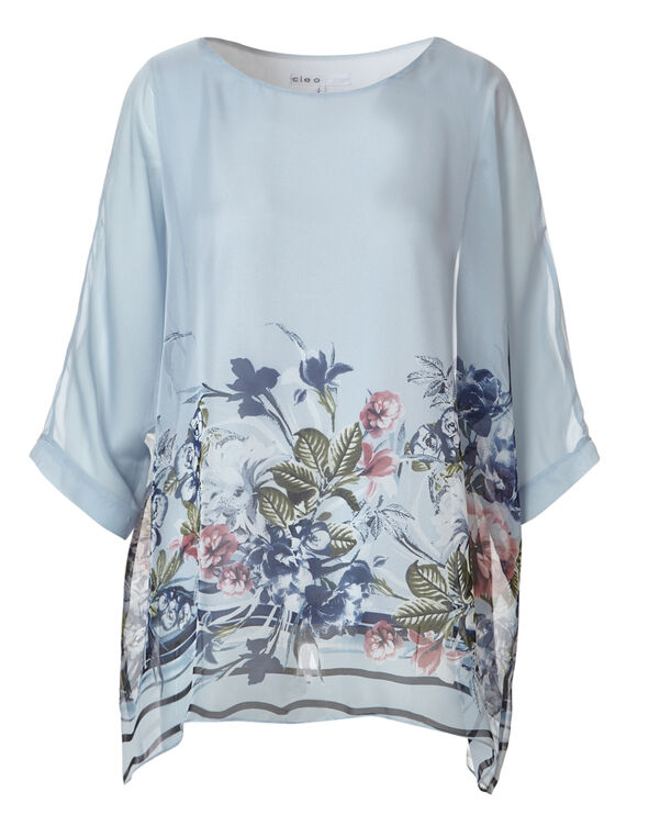 New Blue Printed Caftan Blouse, New Blue, hi-res