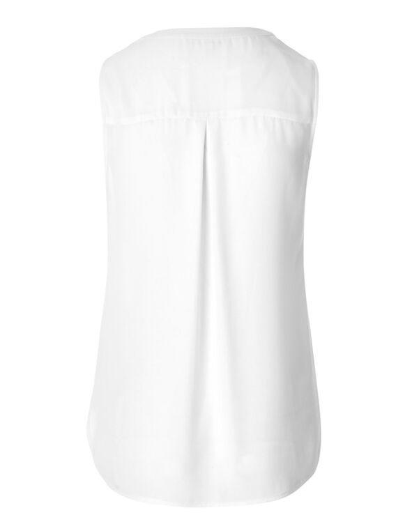 White Shell Blouse, White, hi-res