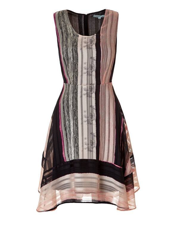 Soft Pink Stripe Sharkbite Dress, Soft Pink/Black/Stone, hi-res