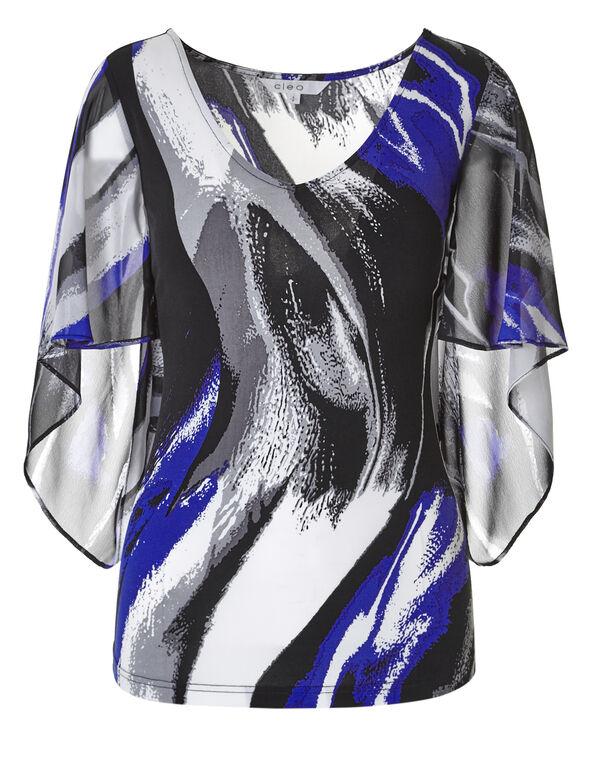 Blue Mix Tulip Sleeve Top, Blue/Grey/Black, hi-res