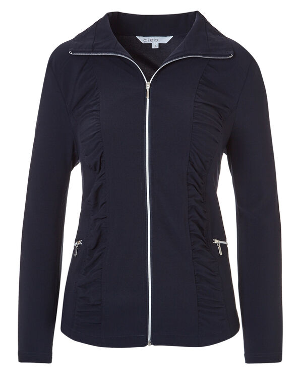Navy Soft Ruched Jacket, Navy, hi-res