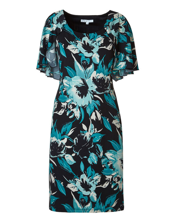 Black Floral Cape Shift Dress, Teal/Black, hi-res