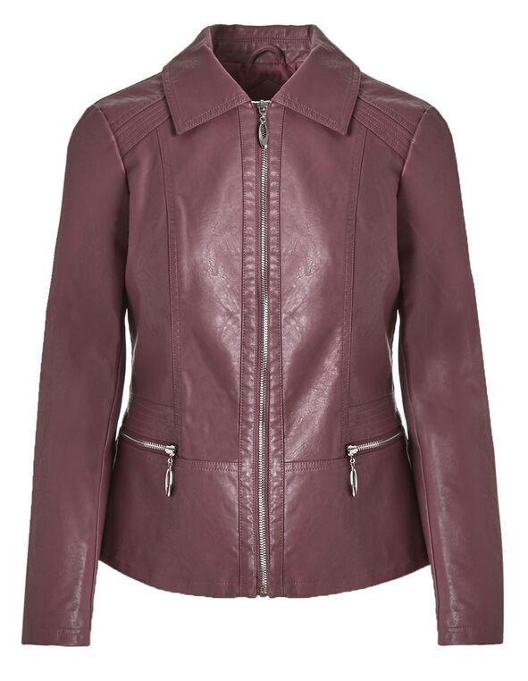 Rosebud Shirt Collar Faux Leather Jacket, Rosebud, hi-res