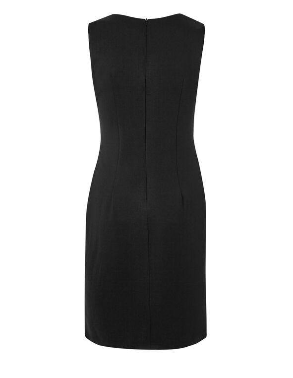 Black Applique Sheath Dress, Black, hi-res