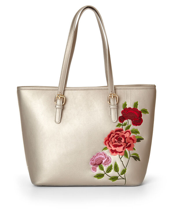Stone Floral Embroidered Tote, Stone, hi-res