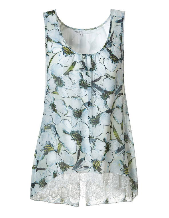 Floral Mesh Lace Hem Top, Blue Print, hi-res