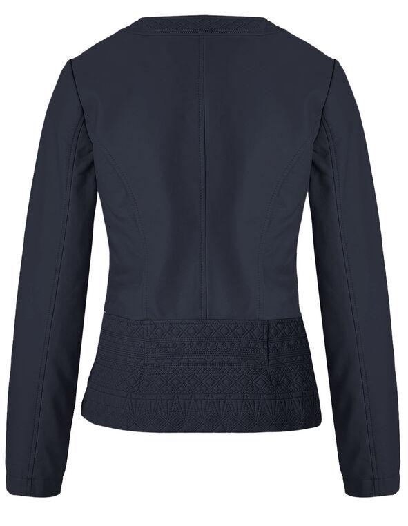Navy Diamond Stitch Faux Leather Jacket, Navy, hi-res