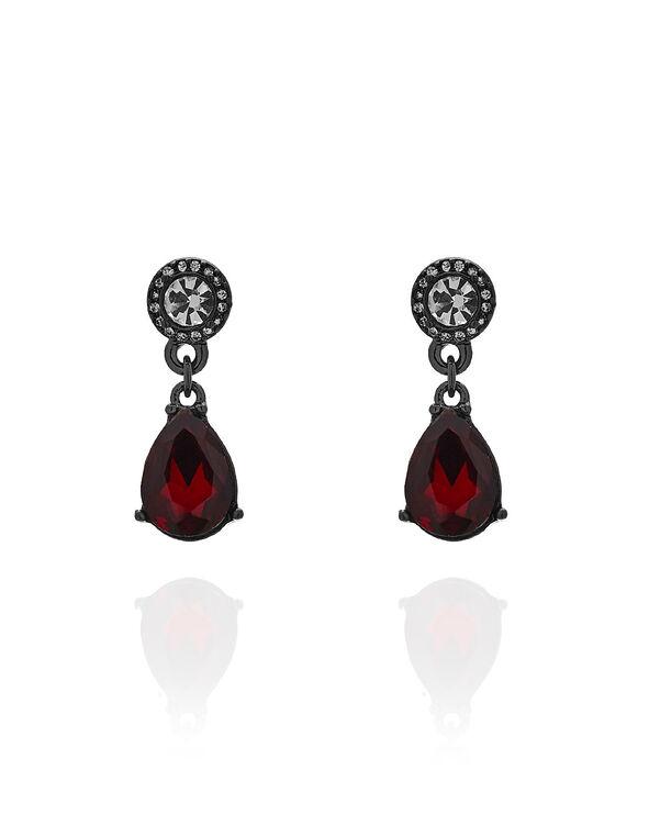 Red Teardrop Crystal Earring, Red, hi-res