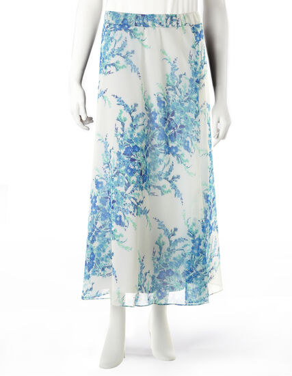 Blue Floral Print Maxi Skirt, Blue/Green/Ivory, hi-res