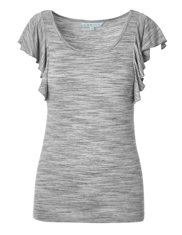 Grey Mix Short Sleeve Flutter Top, White/Grey, hi-res