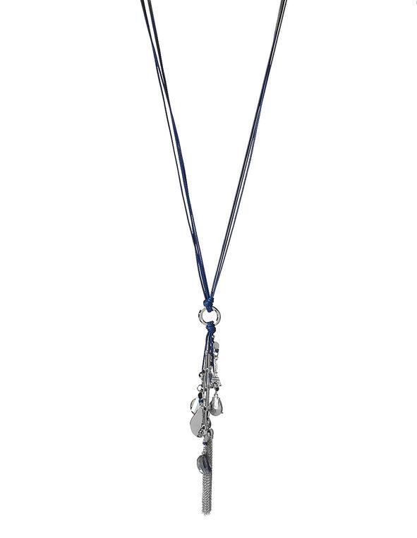 Eiffel Tower Charm Necklace, Blue, hi-res