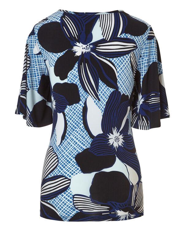 Chambray Print Bell Sleeve Top, Chambrey Pattern, hi-res