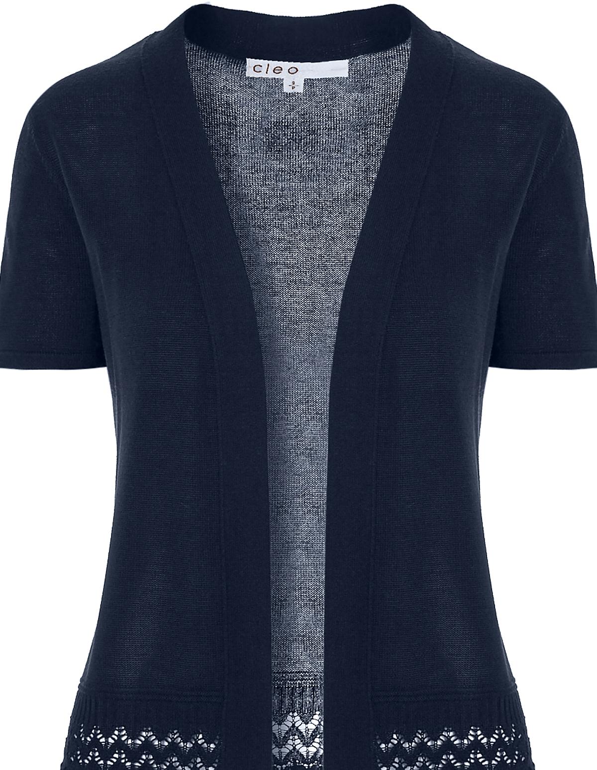 Navy Short Sleeve Cardigan   Cleo