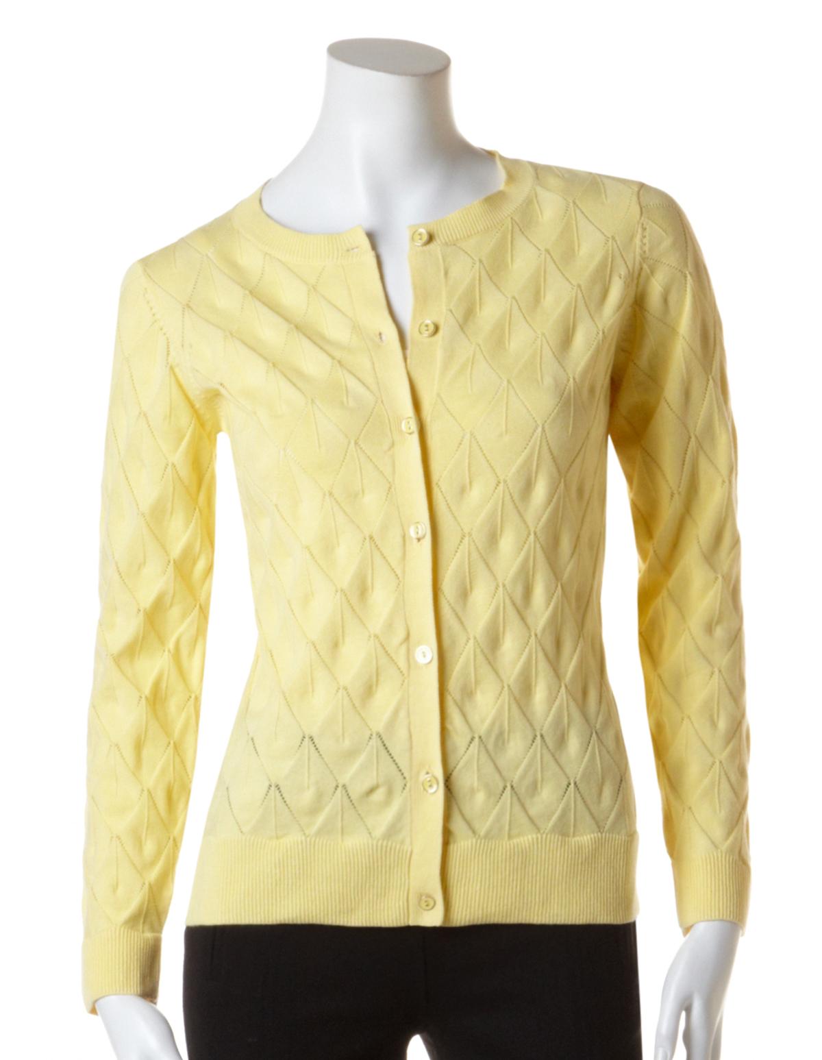 Yellow Diamond Stitch Cardigan | Cleo