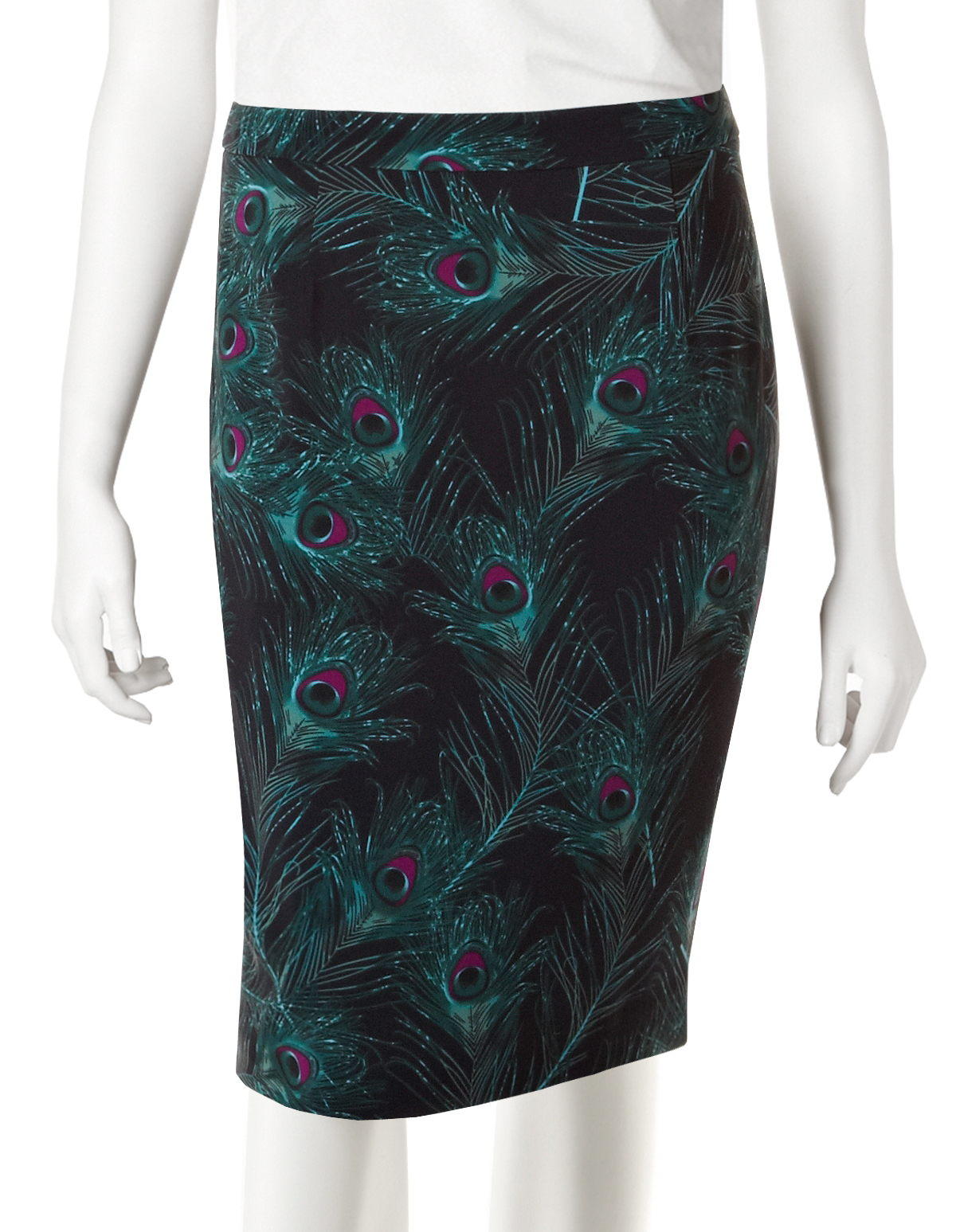 peacock feather pencil skirt cleo