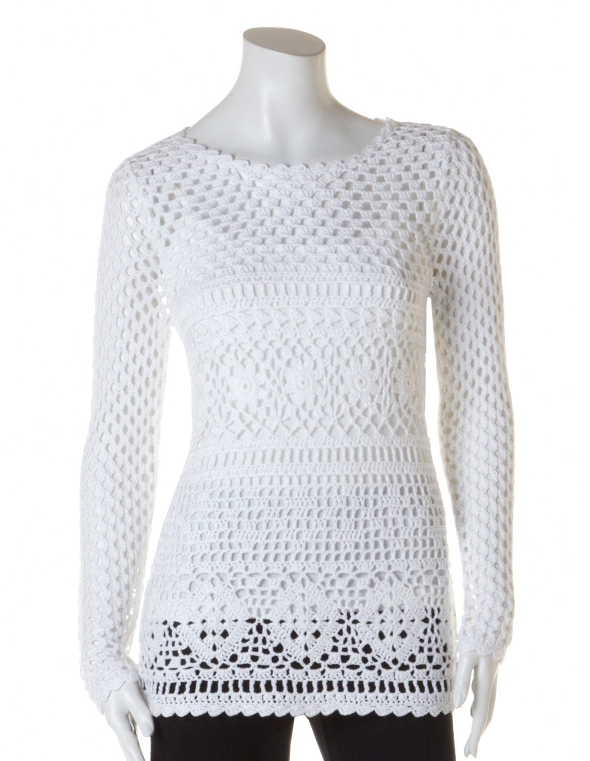 White Crochet Pullover Sweater | Cleo