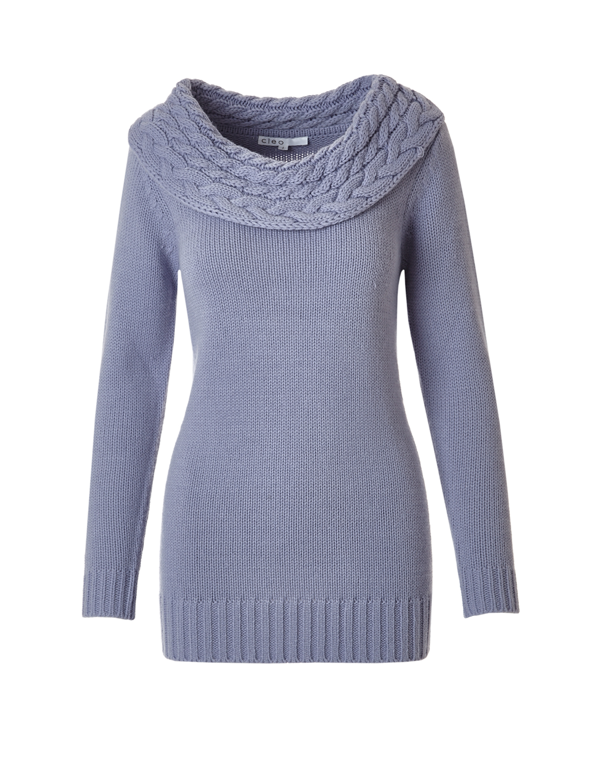Lilac Marilyn Neck Cable Tunic Sweater | Cleo