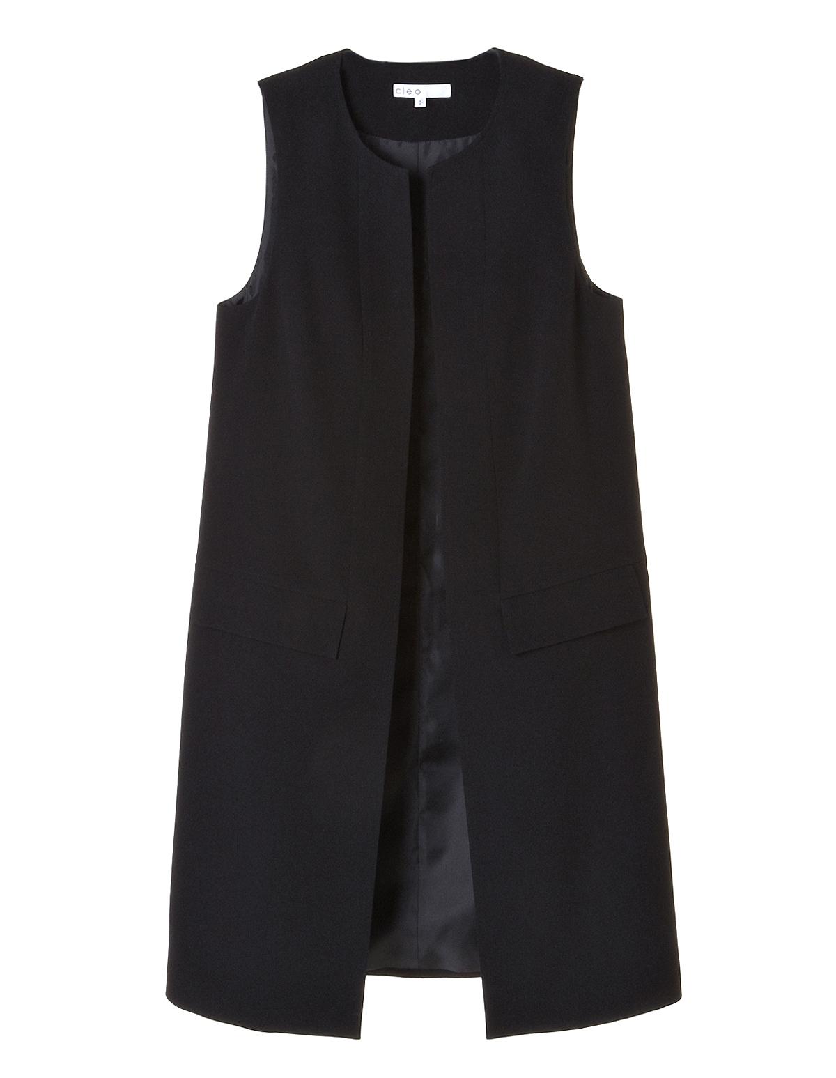 Black sleeveless suit jacket