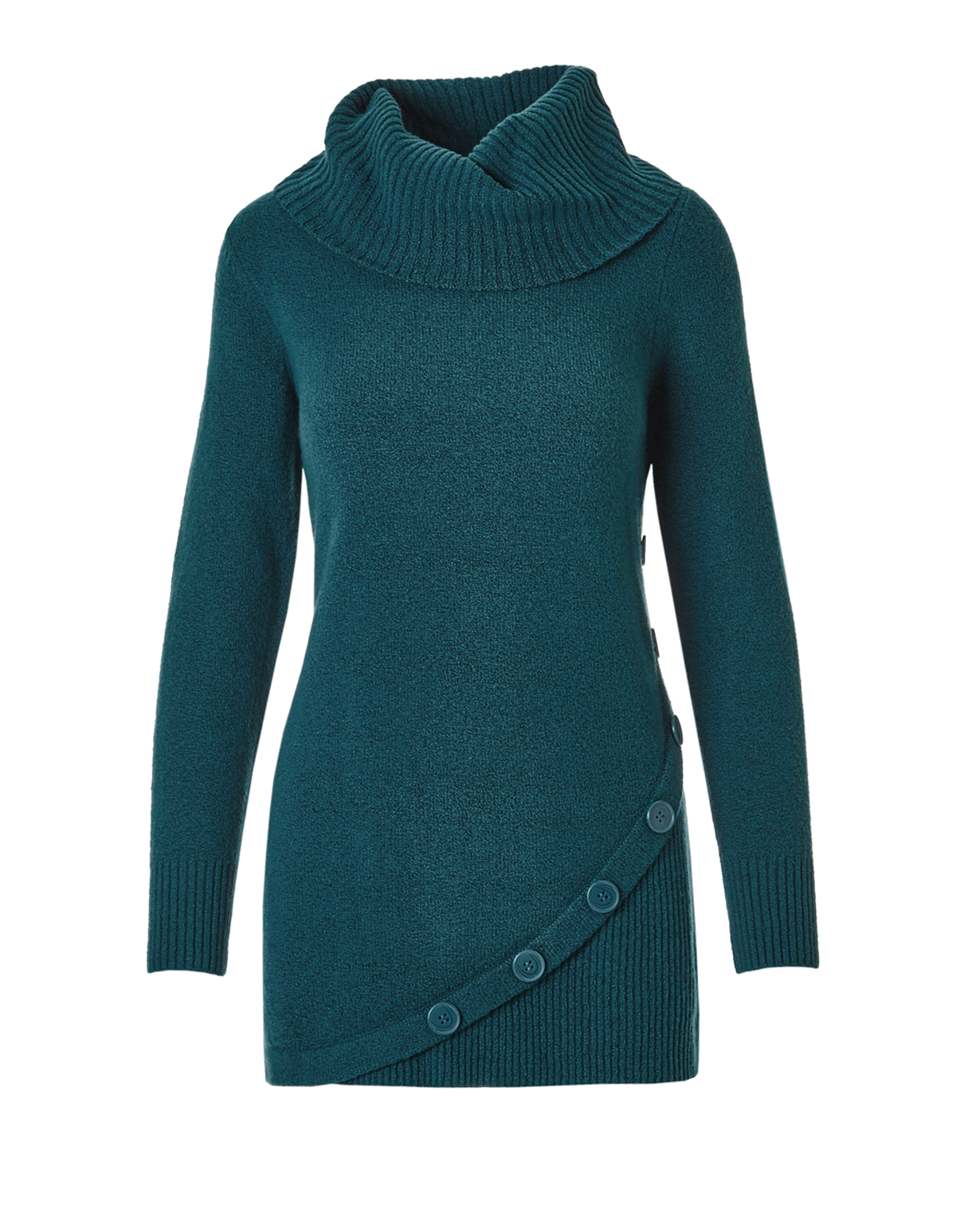 Green Teal Cowl Neck Sweater | Cleo