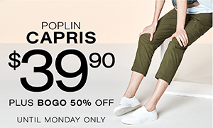 Poplin capris $39.90 plus BOGO 50% off