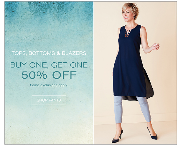 Tops, Sweaters, Blazers and Bottoms Buy One Get One 50% off Category page
