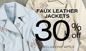 30% off Faux Leather Jackets