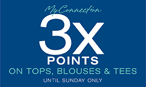 3x the my connection points on tops, blouses and tees