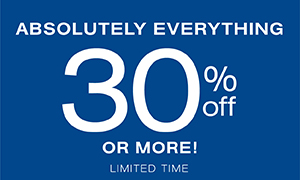 Absolutely everything 30% off or more