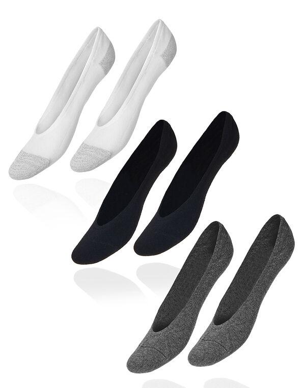 3 Pack Cotton Blend Sockette, Ivory/Black/Grey, hi-res