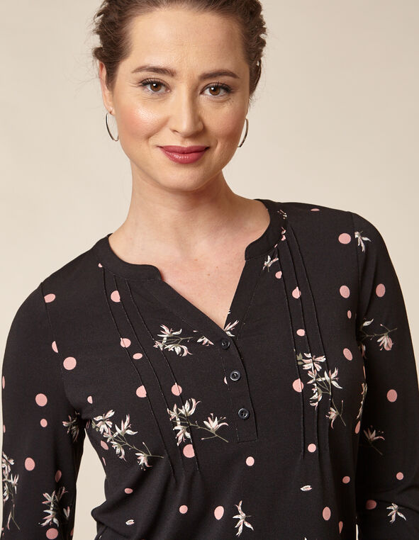 Black Floral Dot Top, Black/Rose, hi-res
