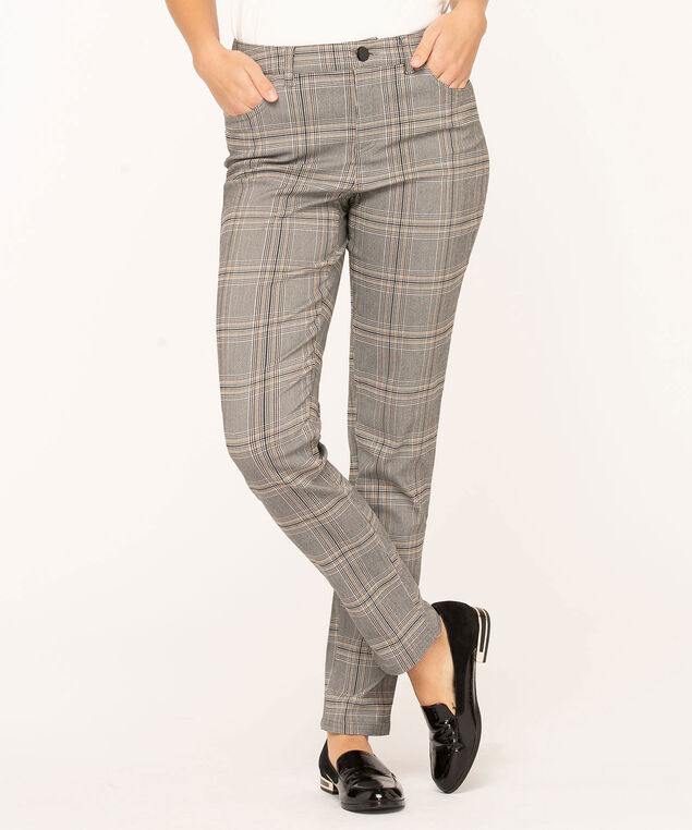 Plaid Curvy 5-Pocket Slim Pant, Black/Ivory/Gold, hi-res