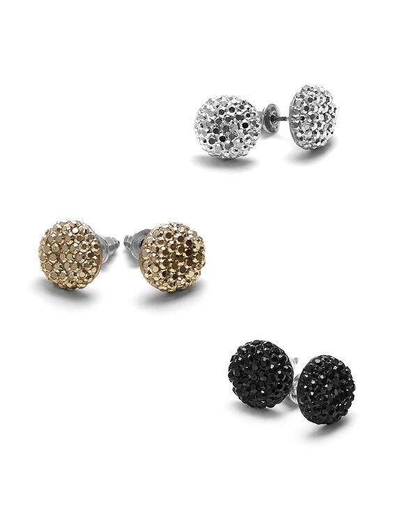 Tri Metal Flat Caviar Earring Set, Silver/Gold/Jet, hi-res