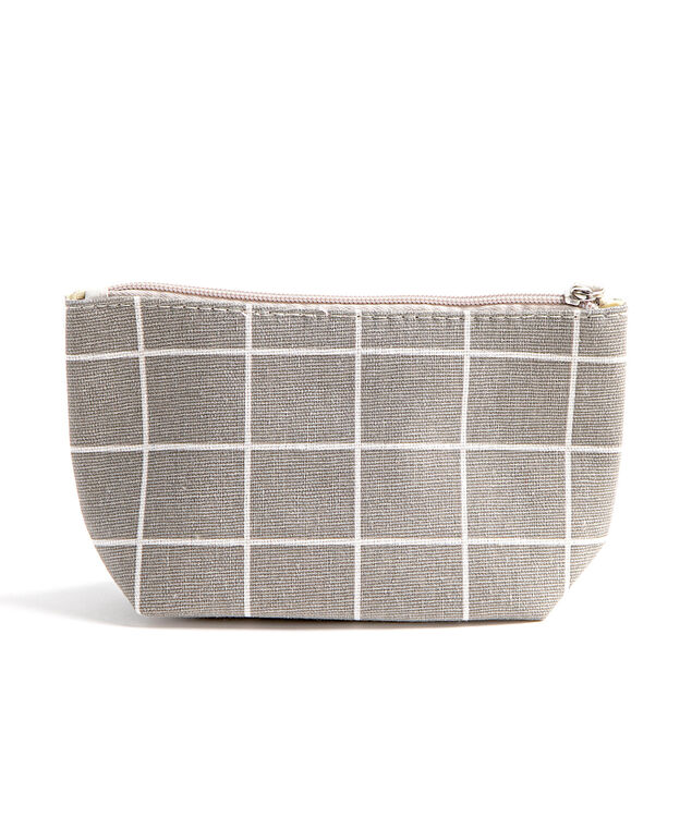 Printed Cotton Canvas Pouch, Grey/White Grid