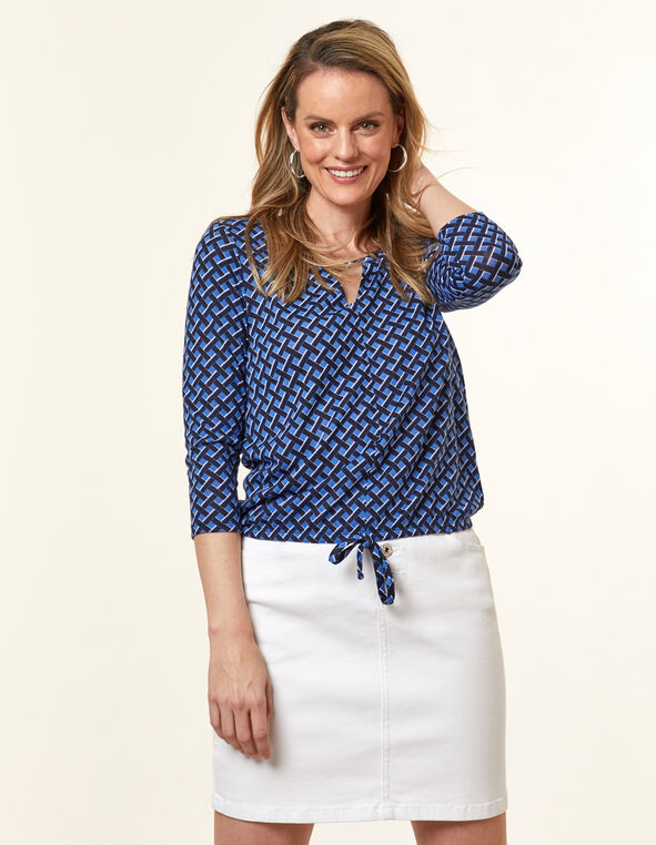 Cornflower Knit Keyhole Top, Blue/Cornflower, hi-res