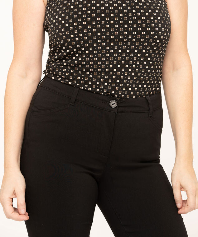 Black Button Butt Lift Slim Pant, Black, hi-res
