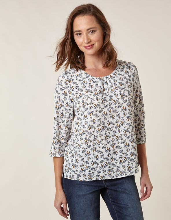 Floral Bubble Crepe Blouse, Ivory, hi-res