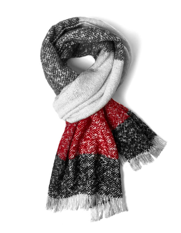 Red Woven Tweed Boucle Scarf, Ivory/Grey/Red, hi-res