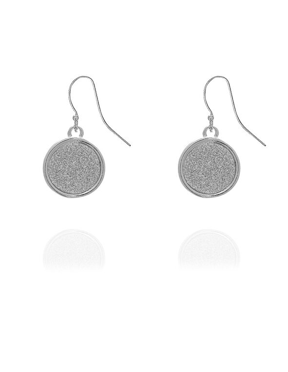 Silver Glitter Drop Earring, Silver, hi-res