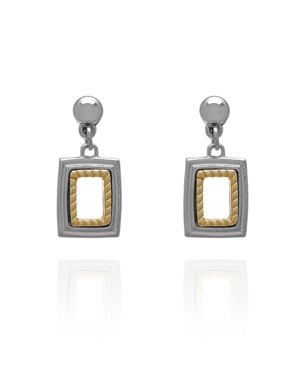 Silver & Gold Geo Earring, Silver/Gold, hi-res
