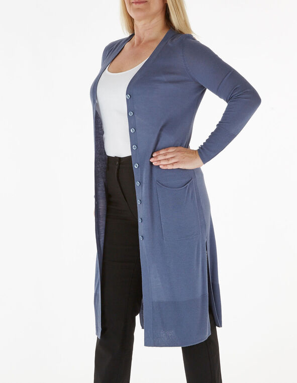 Blue Long Button Down Cardigan, Blue, hi-res
