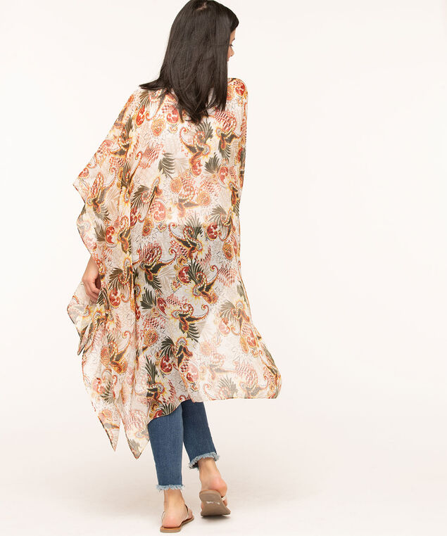 Paisley Safari Print Kimono, Ivory/Olive/Rust