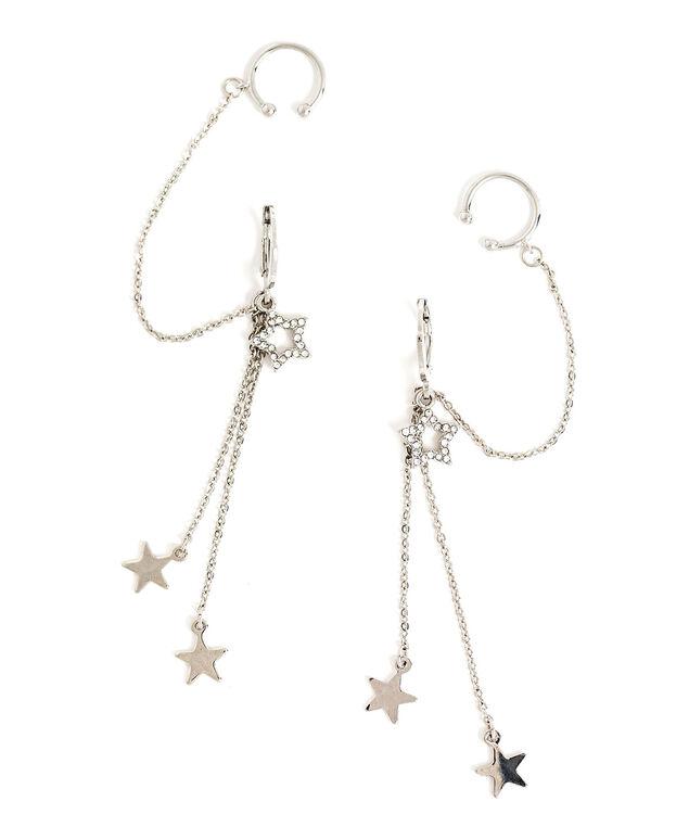 Multichain Star Cuff Hoop Earring, Silver