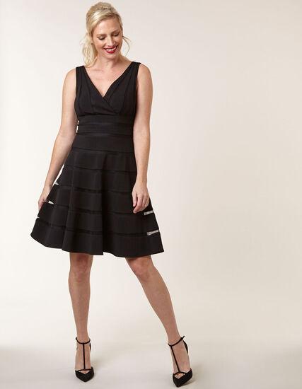Black Ottoman Fit & Flare Dress, Black, hi-res