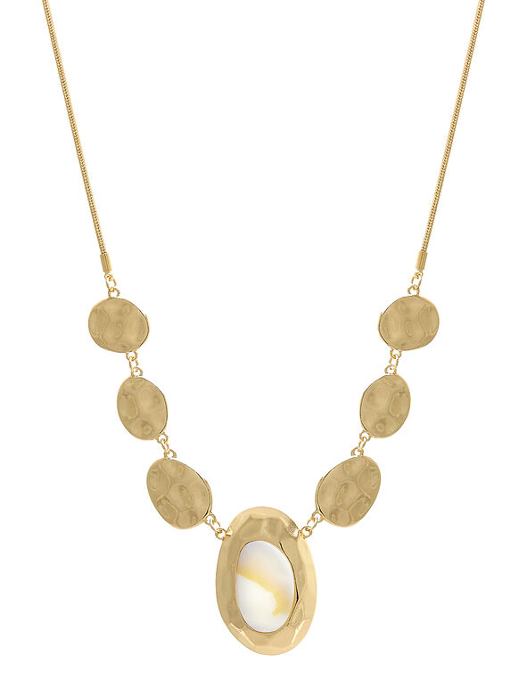Gold Oval Pendant Long Necklace, Gold