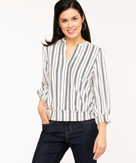 Split Neck 3/4 Mesh Sleeve Top, Ivory/Black Stripe, hi-res