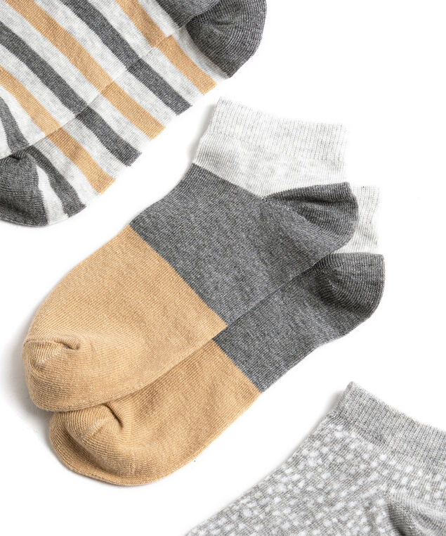 Striped Ankle Sock 3-Pack, Grey/Tan/White